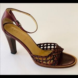 J. CREW WOVEN SANDAL WITH STACKED HEEL SIZE 7